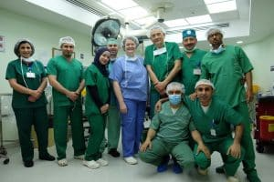 Dr Whitford pictured with her surgical team in Palestine