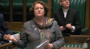 Dr Philippa Whitford MP presenting her speech at Westminster about Prestwick Spaceport and Space Industry policy