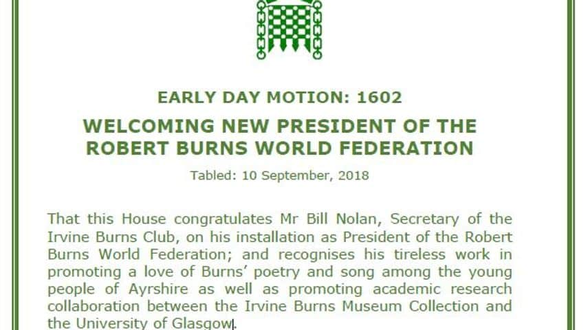 A copy of the Early Day Motion submitted by Dr Whitford MP Congratulating Bill Nolan on Installation as RBWF President