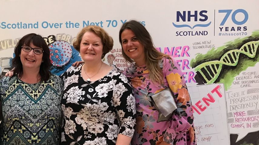Dr Whitford pictured with colleagues celebrating 70 years of the NHS at a gathering in Edinburgh in July 2018