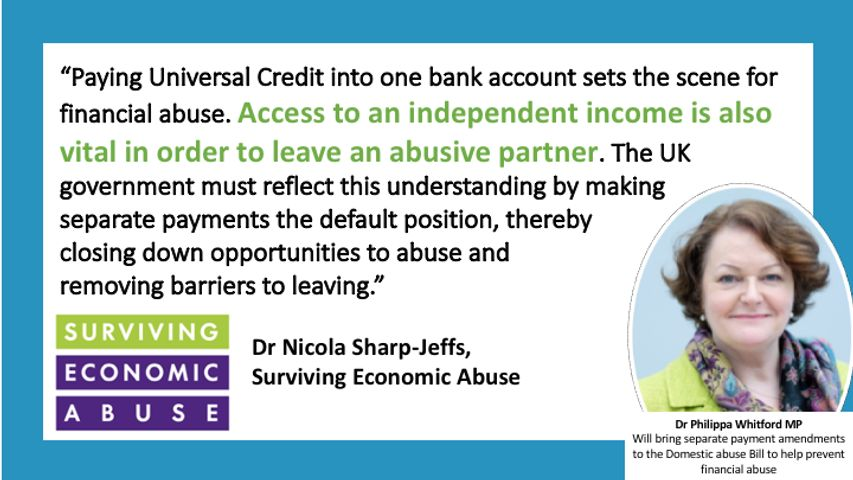 Infographic on Universal Credit and Financial Abuse quoting the charity Surviving Economic Abuse and picturing Dr Whitford