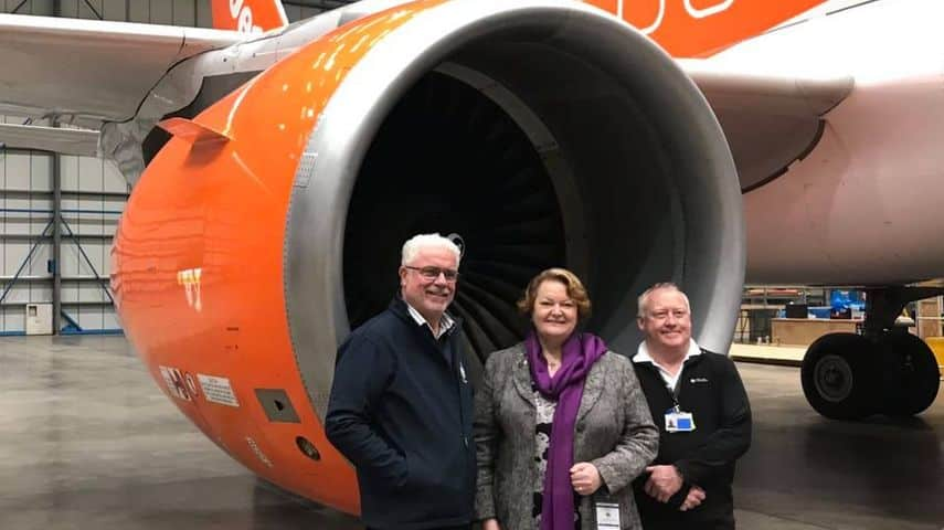 Dr Whitford pictured with Company MD visiting Chevron Aircraft Maintenance