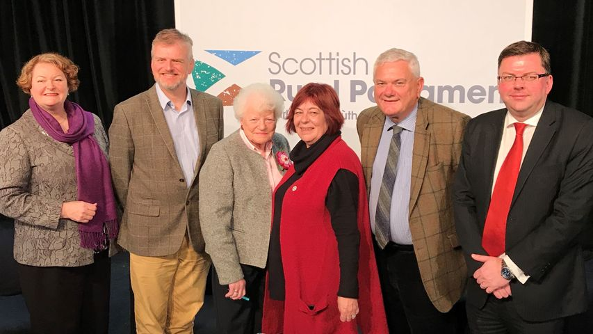 Dr Whitford pictured with fellow panel members at the Scottish Rural Parliament