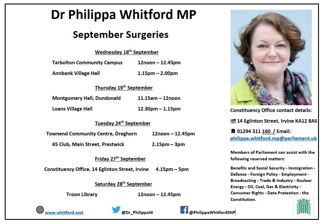 List of drop-in constituency surgeries for September 2019