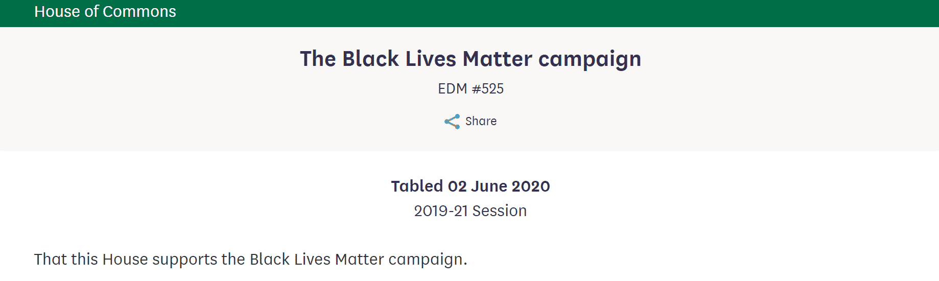 Copy of the text of edm #525 o the Black Lives Matter campaign