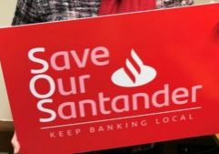 Dr Whitford campaigning to save her local Santander back branch in Troon