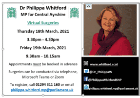 Dates and times of virtual surgeries for March 2021