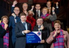 Dr Whitford with fellow MPs outside the House of Commons to mark World Cancer Day as pictured by Cancer Research UK